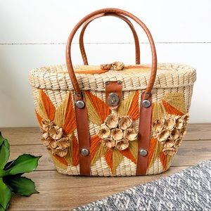 ( Vintage ) Woven Embroidered Floral Hand Tote Bag